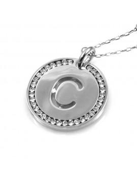 collana con lettera c iniziale ciondolo pendente in bronzo argentato