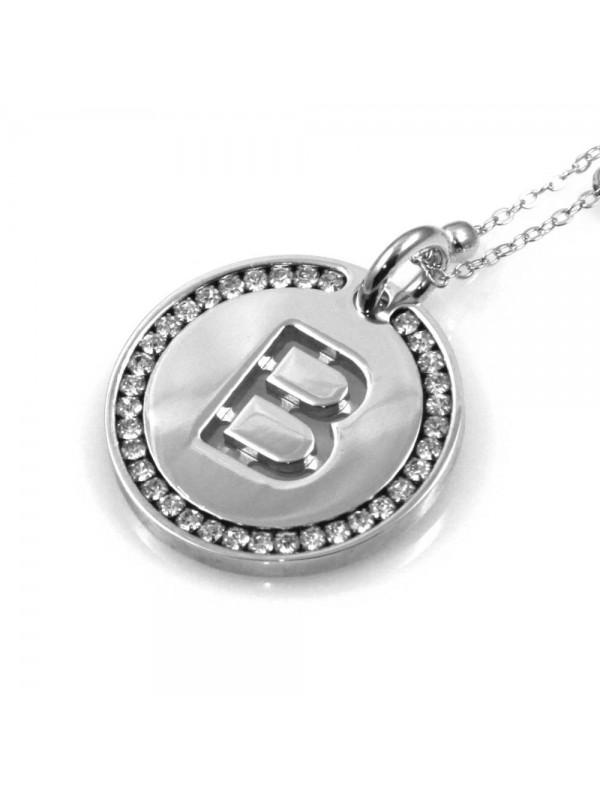collana con lettera b iniziale ciondolo pendente in bronzo argentato