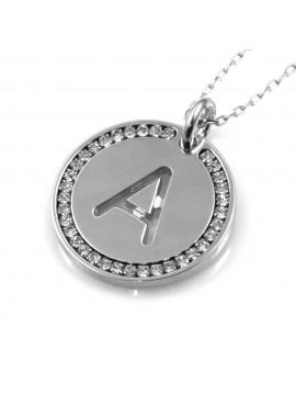 collana con lettera a iniziale ciondolo pendente in bronzo argentato