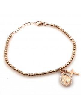bracciale con medaglia miracolosa e croce in argento 925 ramato