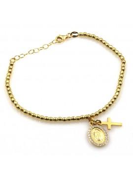 bracciale con medaglia miracolosa e croce in argento 925 dorato