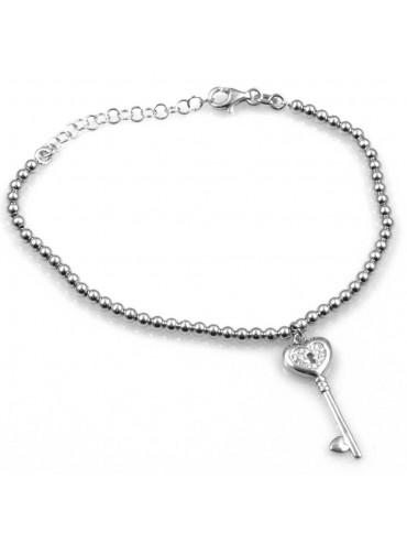 bracciale con chiave a forma di cuore in argento 925 e strass
