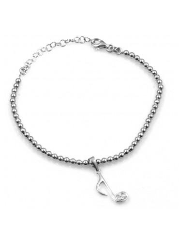 bracciale con nota musicale in argento 925 e strass