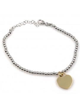 bracciale con cuoricino dorato in argento 925
