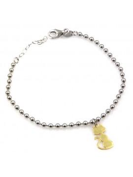 bracciale con gattino dorato in argento 925