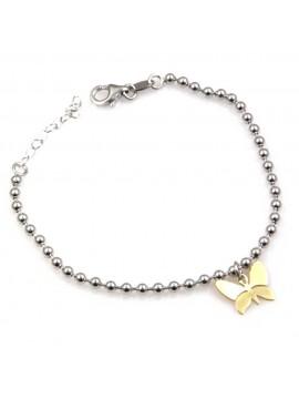 bracciale con farfalla dorata in argento 925