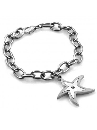 bracciale con stella marina ciondolo pendente in acciaio e strass
