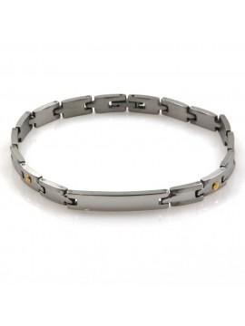 bracciale in acciaio e elementi in oro con piastra per incisioni