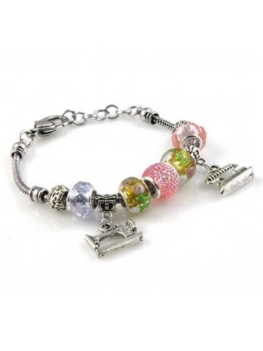 bracciale donna con beads e ciondoli in ceramica cristallo e swarovski