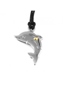 Collana delfino acciaio e oro