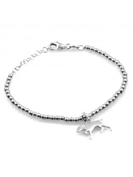 bracciale con cane segugio ciondolo pendente in argento 925 e strass