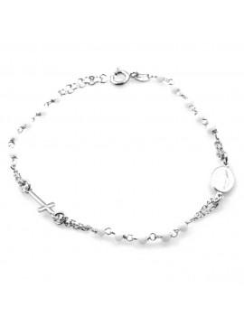 bracciale rosario postine bianche in argento 925