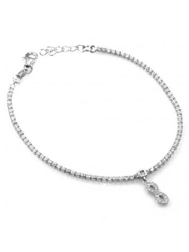 bracciale in argento con ciondolo pendente infinito in argento 925 e strass