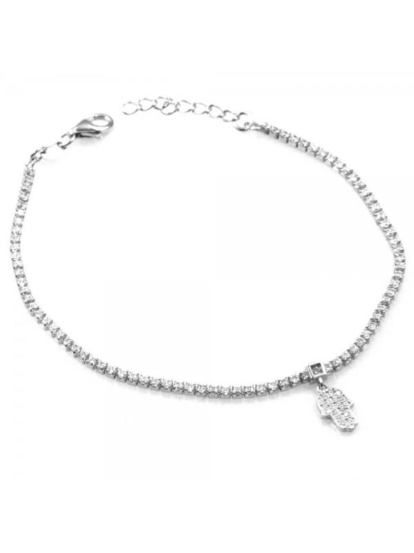 bracciale in argento con ciondolo pendente mano di fatima in argento 925 e strass