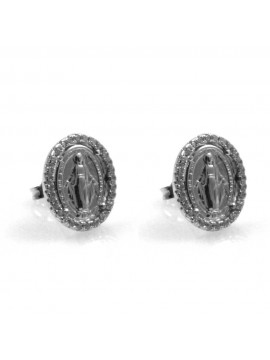 orecchini con medaglia miracolosa in argento 925