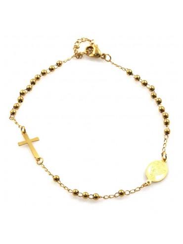 bracciale rosario dorato in acciaio