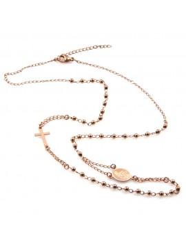 collana rosario in acciaio ramato modello girocollo