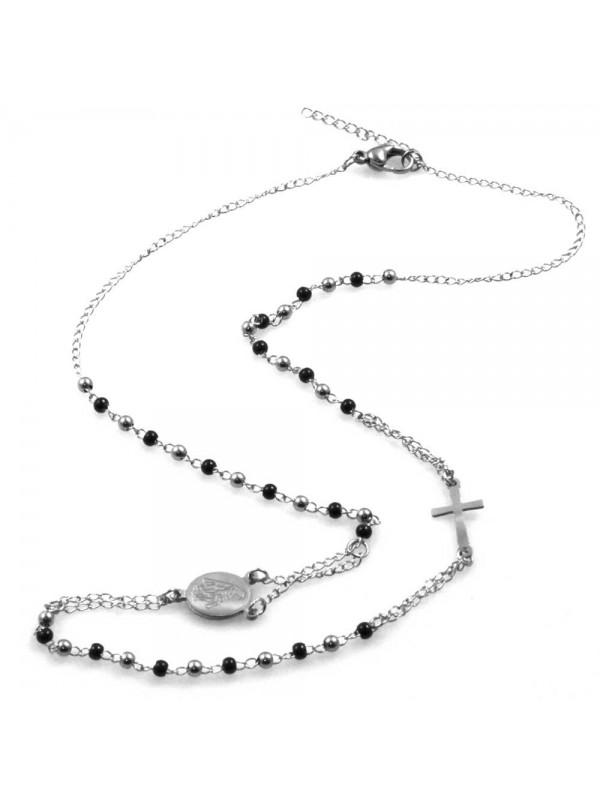 collana rosario in acciaio postine bicolore modello girocollo