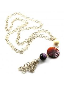 collana con ciondolo in pietre dure catena in alluminio dorata
