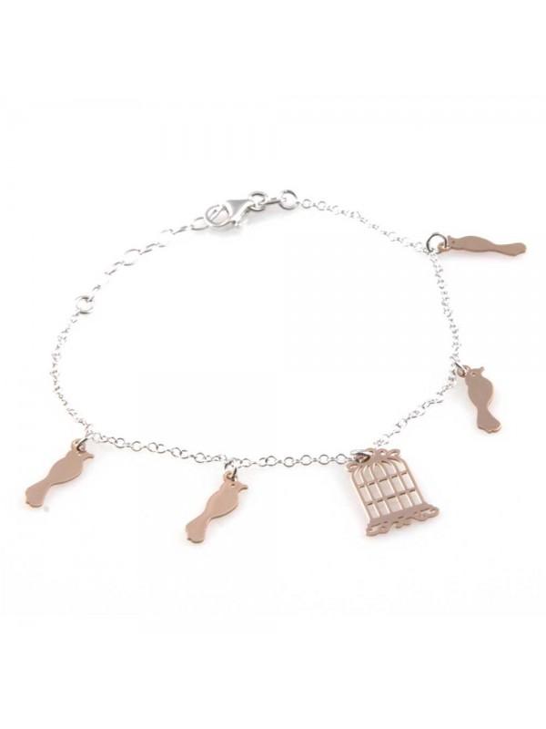 bracciale donna in argento 925 con ciondoli gabbia e uccellini bcc1808