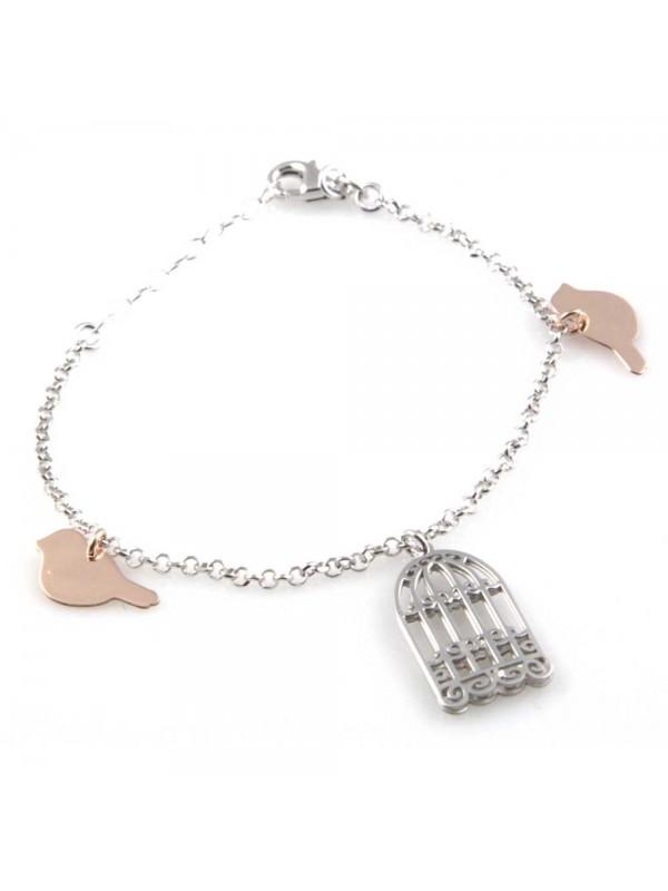 bracciale donna in argento 925 con ciondoli gabbia e uccellini bcc1809