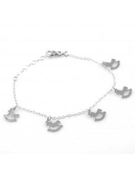 bracciale con cavallucci a dondolo in argento 925 da donna