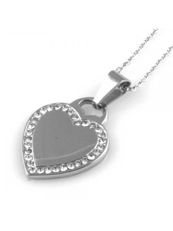 collana con cuore ciondolo in acciaio e strass donna