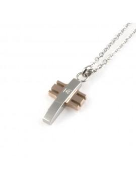 collana con croce ciondolo pendente in acciaio da uomo