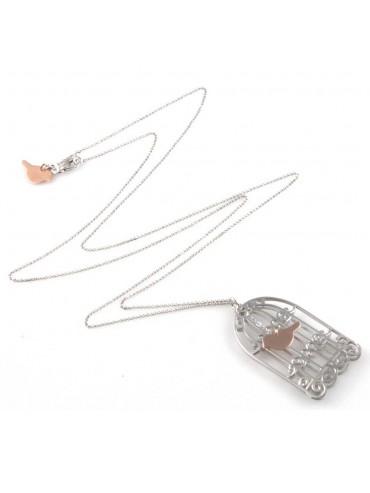 collana con gabbia e uccellino ciondolo in argento 925 gioiello donna
