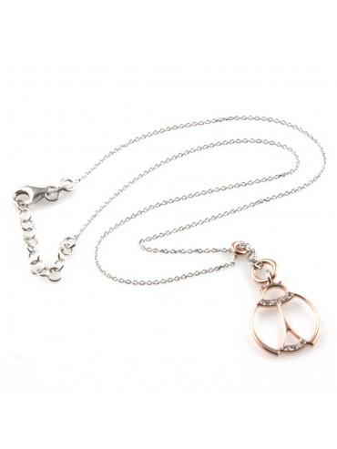 collana con coccinella ciondolo in argento 925 e strass zirconi gioiello donna