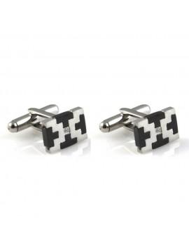 gemelli in acciaio per camicia rettangolari tetris gioiello uomo