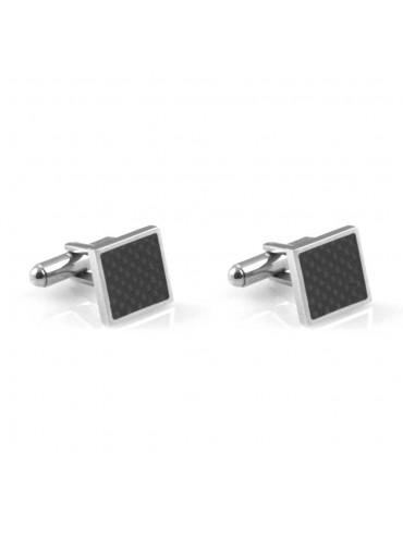 gemelli in acciaio per camicia quadrati in fibra di carbonio gioiello uomo