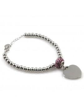 bracciale con cuore in acciaio da donna e beads di strass