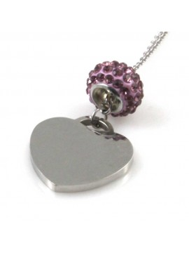 collana con ciondolo cuore donna in acciaio e beads di strass
