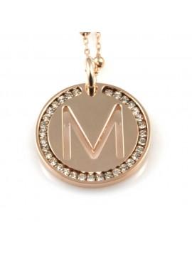 collana con lettera m iniziale ciondolo pendente in bronzo ramato