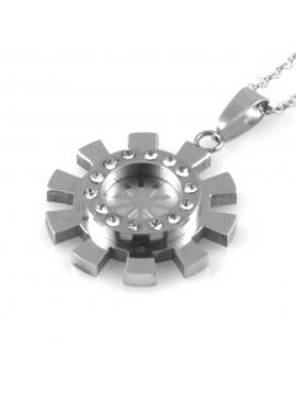 collana sole gioiello donna in acciaio con strass