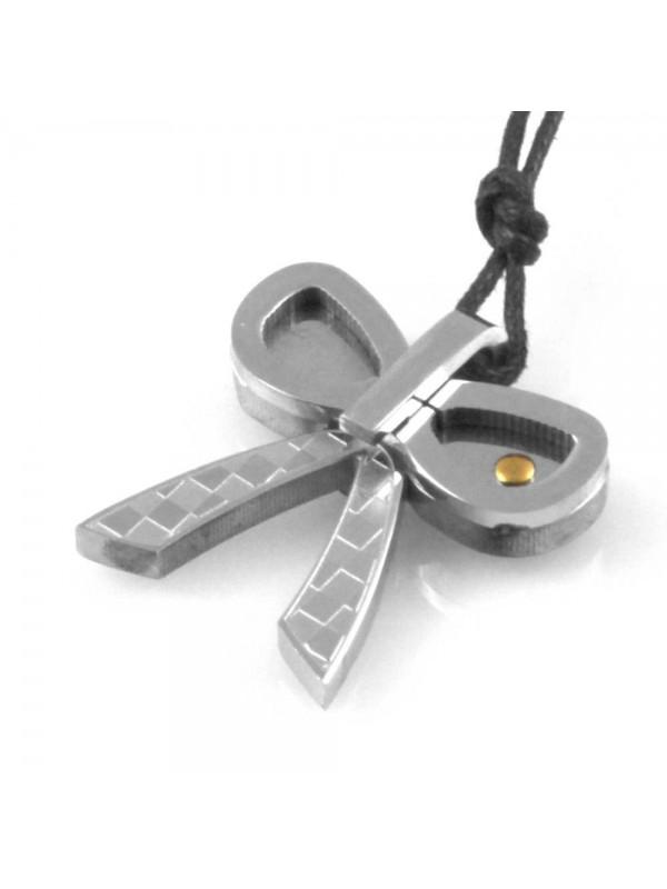collana con fiocco gioiello donna in acciaio e oro