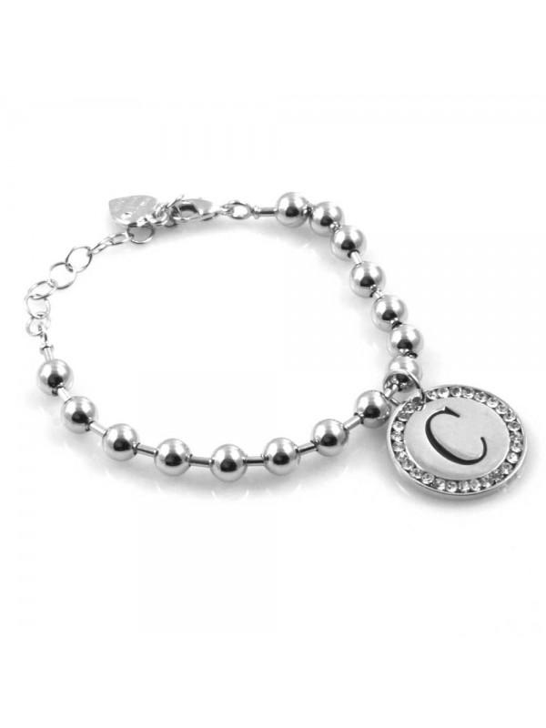bracciale donna con lettera iniziale c ciondolo gioiello argentato con strass