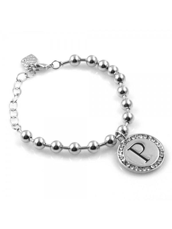bracciale donna con lettera iniziale p ciondolo gioiello argentato con strass
