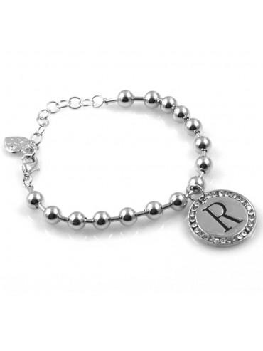 bracciale donna con lettera iniziale r ciondolo gioiello argentato con strass