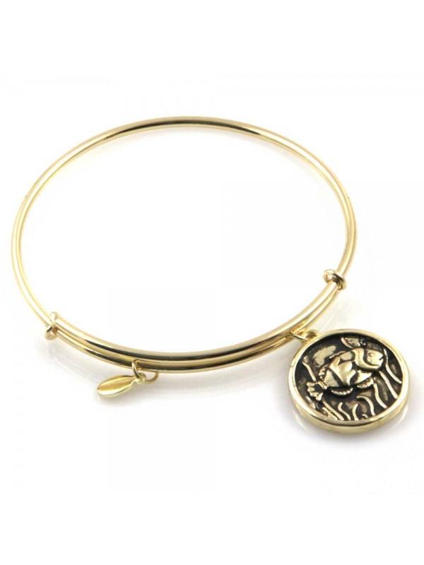 bracciale donna rigido crisalide gioiello dorato con ciondolo pesce misura unica