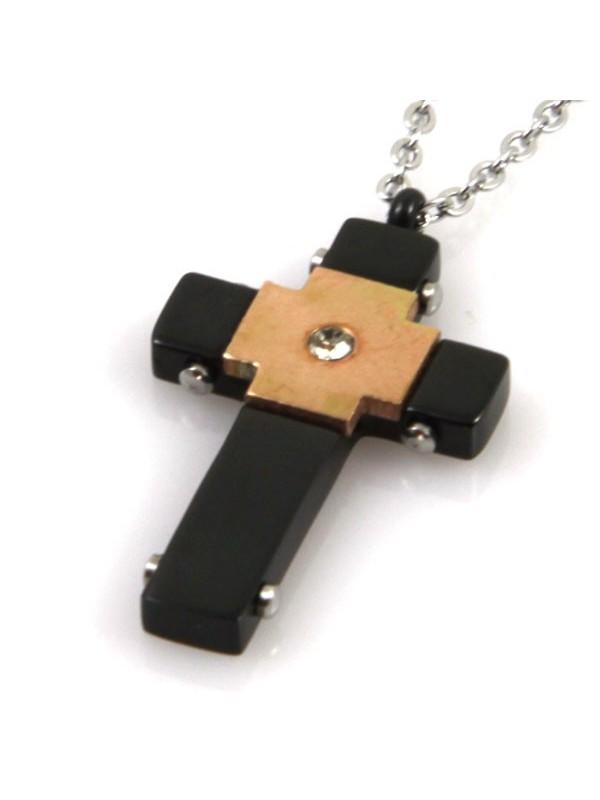 Collana croce in acciaio