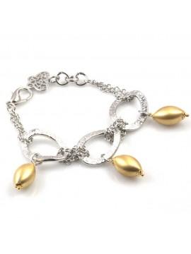 bracciale donna in bronzo gioiello con ciondoli oliva dorati misura cm 19
