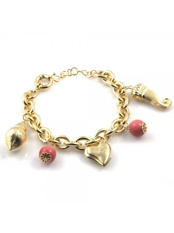 bracciale donna in bronzo gioiello con ciondoli conchiglia corno cuore e pietre misura cm 19