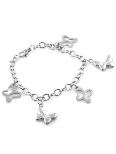 bracciale donna in acciaio gioiello con ciondoli farfalle cm 19