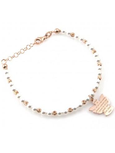 bracciale donna con ciondolo angelo custode preghiera gioiello in argento 925 ramato e perle bianche cm 19 mm 17 mm 15