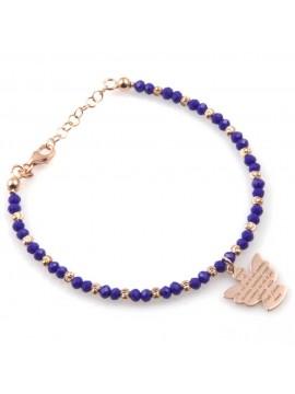 bracciale donna con ciondolo angelo custode preghiera gioiello in argento 925  ramato e pietre sfaccettate blu cm 19 mm 17 mm 15