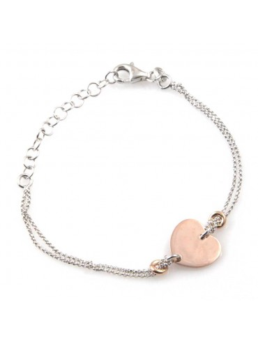bracciale donna con cuore ciondolo gioiello in argento 925 ramato cm 19 mm 13 mm 12