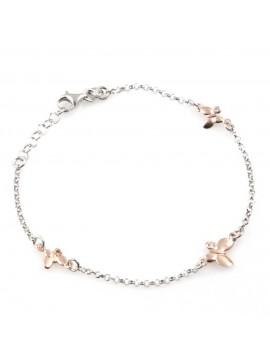 bracciale donna con farfalle ciondoli gioiello in argento 925 ramato cm 19 mm 9 mm 7