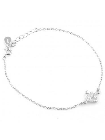 bracciale donna con ancora ciondolo gioiello in argento 925 e zirconi cm 19 mm 11 mm 10